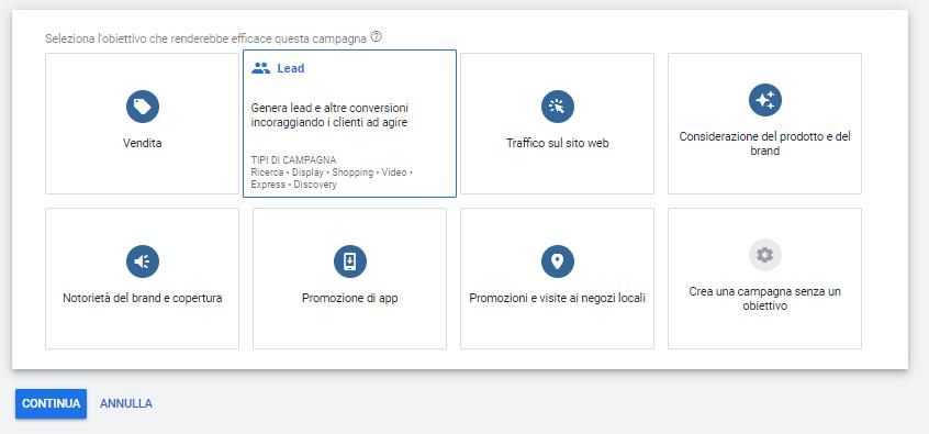 Google Ads Obiettivi di Campagna